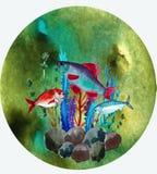 Ejemplo con los pescados del r?o stock de ilustración