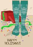 Ejemplo con los pies de la muchacha en medias hechas punto Imagen de archivo libre de regalías