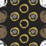 Ejemplo con textura de la pintura, marrones de la mano, blancos, de oro círculos exhaustos y flores Modelo inconsútil del vector  stock de ilustración