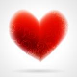 Ejemplo con un corazón rojo de la tarjeta del día de San Valentín Fotos de archivo libres de regalías
