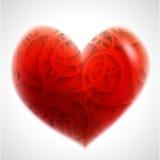 Ejemplo con un corazón rojo de la tarjeta del día de San Valentín Foto de archivo libre de regalías