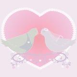 Ejemplo con un par de palomas y de corazón Fotografía de archivo libre de regalías