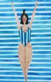 Ejemplo con una muchacha en un traje de baño rayado azul libre illustration
