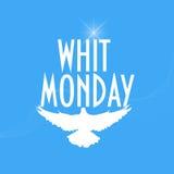 Ejemplo con una silueta de la paloma o de la paloma: Whit Monday o Pentecostés lunes también conocido como lunes del Espíritu San Fotografía de archivo