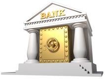 Banco monolítico con la caja fuerte dentro Fotografía de archivo libre de regalías