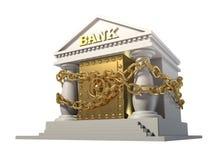 Ejerza la actividad bancaria con la caja fuerte del oro, conectada por una cadena Imágenes de archivo libres de regalías