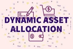 Ejemplo conceptual del negocio con el al dinámico del activo de las palabras ilustración del vector