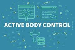 Ejemplo conceptual del negocio con el cuerpo activo cont de las palabras stock de ilustración