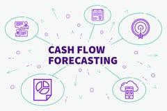 Ejemplo conceptual del negocio con el foreca del flujo de liquidez de las palabras stock de ilustración