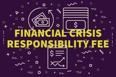 Ejemplo conceptual del negocio con la crisis financiera de las palabras ilustración del vector