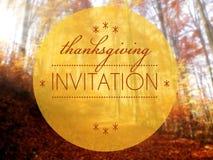 Ejemplo conceptual del otoño de la invitación de la acción de gracias Foto de archivo libre de regalías