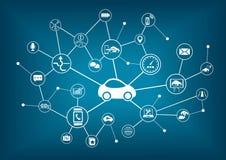 Ejemplo conectado del coche Concepto de conexión con los vehículos ilustración del vector