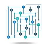 Ejemplo conectado tecnología del vector del concepto de la red Esquema tecnológico de la integración de la industria stock de ilustración