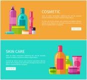 Ejemplo cosmético del vector de dos de piel tarjetas de cuidado stock de ilustración
