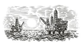 Ejemplo costero del estilo del grabado de la plataforma petrolera Perforación petrolífera del mar Vector stock de ilustración