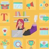 Ejemplo creativo acertado de la muchacha del blogger Stock de ilustración