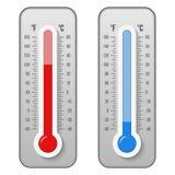 Ejemplo creativo de celsius, escala del vector de los termómetros de la meteorología de Fahrenheit aislada en fondo Calor, muestr ilustración del vector