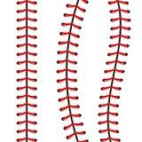 Ejemplo creativo de las puntadas de la bola del béisbol de los deportes, costura roja del vector del cordón aislada en fondo tran stock de ilustración