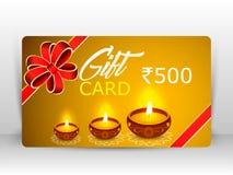 Ejemplo creativo del diya ardiente con los fuegos artificiales, carte cadeaux del diwali ilustración del vector