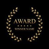 Ejemplo creativo del vector de la mejor etiqueta del premio con la guirnalda de oro del laurel aislada en fondo transparente Arte libre illustration