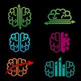 ejemplo creativo del vector de la plantilla del logotipo de la contabilidad del cerebro stock de ilustración