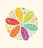 Ejemplo creativo del vector del hippie del flower power Concepto brillante de las letras del verano en el fondo de papel Imagen de archivo libre de regalías