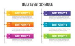 Ejemplo creativo del vector del espacio en blanco diario del horario del acontecimiento aislado en fondo transparente Cronología  ilustración del vector