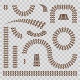 Ejemplo creativo del vector del ferrocarril curvado aislado en fondo Diseño recto del arte de las pistas Poseer el apartadero fer ilustración del vector