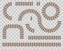 Ejemplo creativo del vector del ferrocarril curvado aislado en fondo Diseño recto del arte de las pistas Poseer el apartadero fer libre illustration