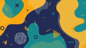 Ejemplo creativo del vector del fondo del chapoteo del color de la historieta de los niños Estilo de moda del diseño 80s-90s Memp stock de ilustración