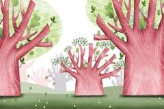 Ejemplo creativo y arte innovador: Bosque grande del árbol ilustración del vector