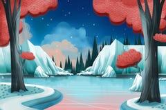 Ejemplo creativo y arte innovador: Lago winter stock de ilustración