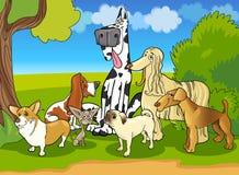 Ejemplo criado en línea pura de la historieta del grupo de los perros stock de ilustración