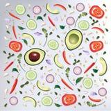 Ejemplo crudo del vector del fondo de la comida del modelo colorido Fotos de archivo