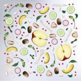 Ejemplo crudo del vector del fondo de la comida del modelo colorido Fotos de archivo libres de regalías