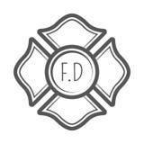 Ejemplo cruzado del vector del bombero en estilo del vintage del monocrome Fotos de archivo libres de regalías