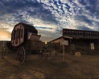 Ejemplo 3D, carro y casa del oeste viejos en la puesta del sol libre illustration