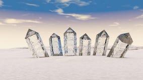 ejemplo 3D de colocar juntos cristales transparentes stock de ilustración