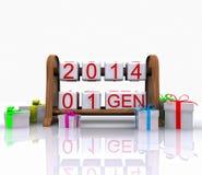 Fecha - 1 de enero de 3 D Imágenes de archivo libres de regalías