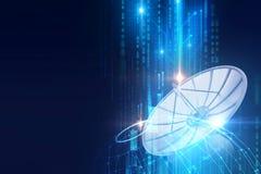 ejemplo 3d de la antena parabólica en backgr abstracto de la tecnología ilustración del vector