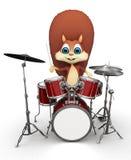 Ardilla que juega los tambores por un palillo Imágenes de archivo libres de regalías