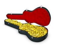 ejemplo 3d de la caja de la guitarra con las notas Fotos de archivo