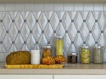 ejemplo 3D de la cocina blanca en estilo clásico Fotografía de archivo libre de regalías