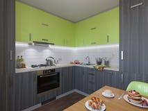 ejemplo 3D de la cocina con las fachadas de madera y verdes Imágenes de archivo libres de regalías