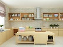 ejemplo 3D de la cocina escasa moderna con los detalles de la madera dura y la loza brillante Imagen de archivo libre de regalías