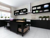ejemplo 3D de la cocina escasa moderna con los detalles de la madera dura y la loza brillante Fotografía de archivo