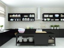 ejemplo 3d de la cocina moderna con los platos y la loza Fotografía de archivo