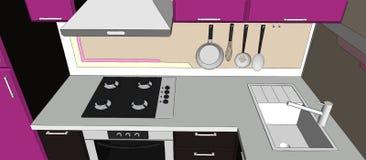 ejemplo 3d de la esquina púrpura y marrón de la cocina con los dispositivos Foto de archivo