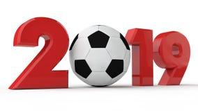 ejemplo 3D 2019 de la fecha, balón de fútbol, era del fútbol, año de deporte representación 3d La idea para el calendario ilustración del vector