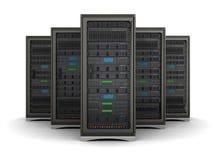 ejemplo 3d de la fila los estantes del servidor